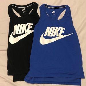 Nike Sports Tank Tops Set Of Two Blue & Black